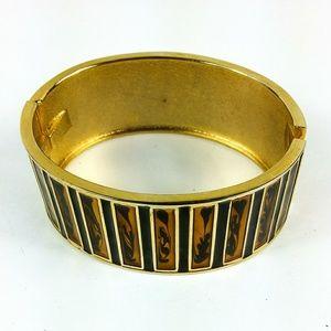 Cuff Bracelet Goldtone Enamel Hinge Opening